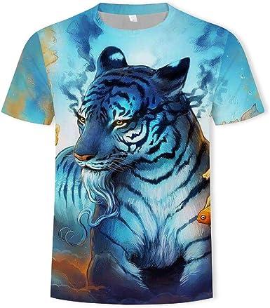 Tigre Animal de impresión Digital 3D Camiseta de un Maniche ...