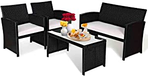 Goplus Patio Furniture 4 Pieces Rattan Conversation Sofa Set with Cushions and Table for Garden Yard Balcony (Black)