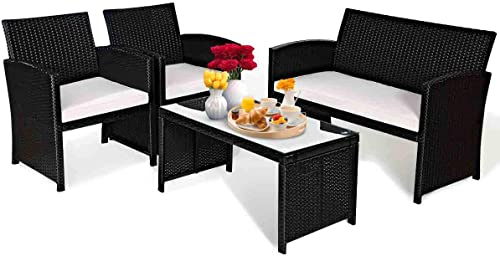 Goplus Patio Furniture 4 Pieces Rattan Conversation Sofa Set