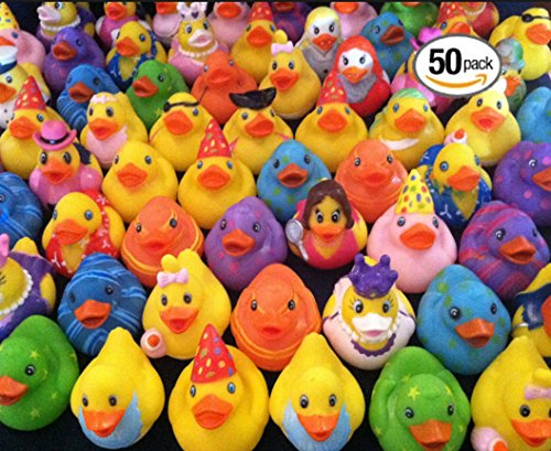 Play Kreative Rubber Ducky Assortment - Pack of 50 2 Inch Rubber Ducks for Kids, Party Favors, Gift, Birthdays, Baby Showers, Baby Bath Toys, Bath Time, Easter Party Favors, Baby toys and Carnivals