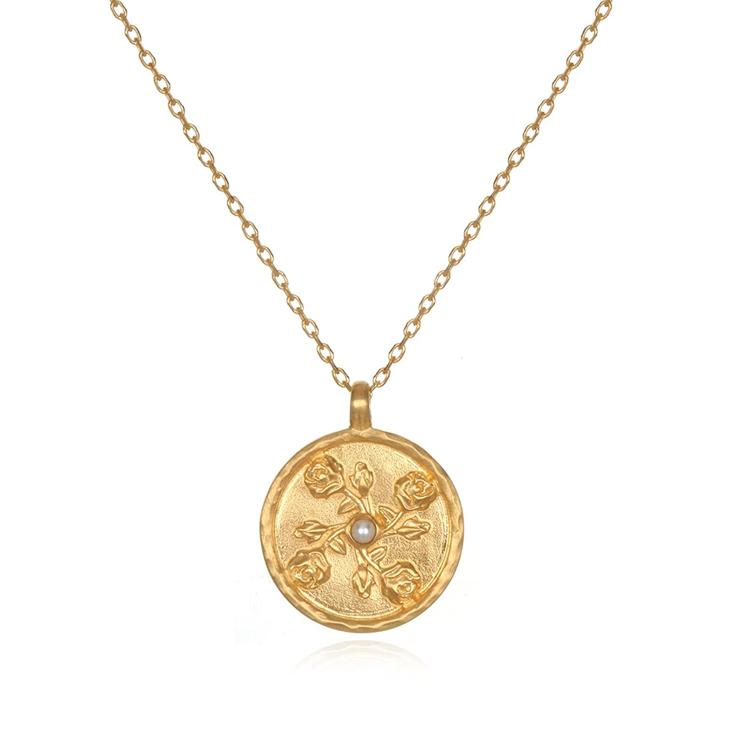 Satya Jewelry Pearl Gold Plate Rose June Flower Birthstone (18 Inch) Pendant Necklace by Satya Jewelry