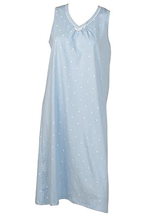 f7c6849fc5 Slenderella Ladies 100% Cotton Dobby Dot Nightdress Sleeveless V Neck  Nightie (UK 10-22)  Amazon.co.uk  Clothing