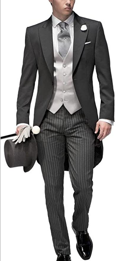 Victorian Men's Clothing Newdeve Three Pieces Tailored Bridegroom Black Morning Suit Wedding Tuxedo for Men Groomwear $169.00 AT vintagedancer.com