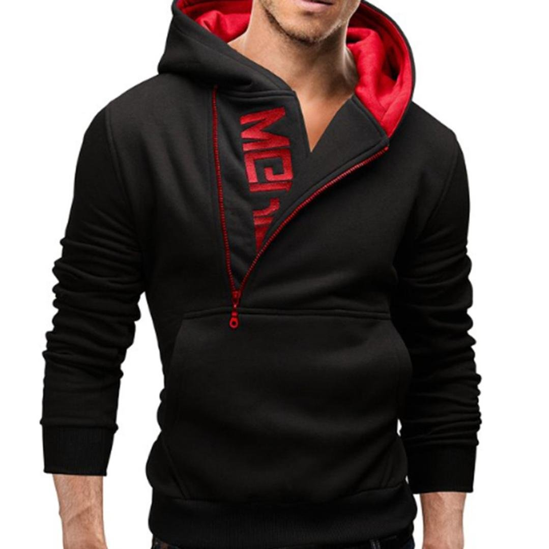 Ankola Men's Gym Workout Long Sleeve Hoodies Training Sports Pullover Casual Hooded Sweatshirts with Pockets (XXL, Black -2) by Ankola-Men's Hoodie (Image #1)