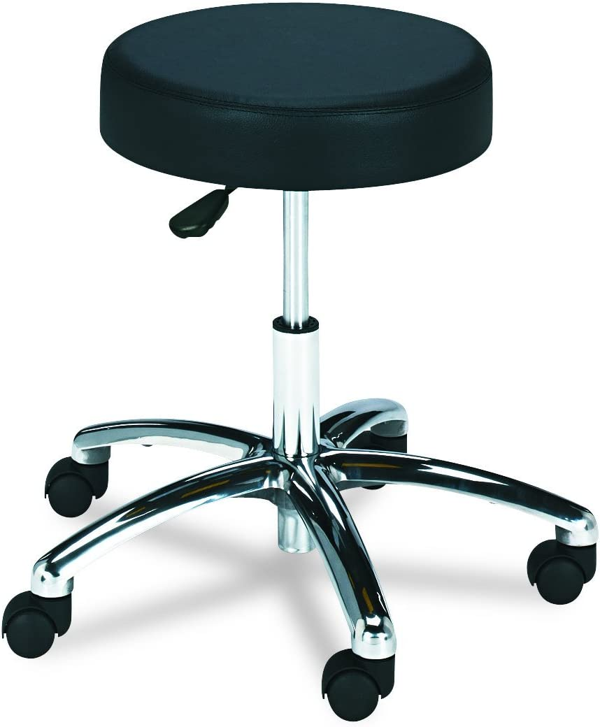 Safco Products Lab Stool, Pneumatic Lift , Black, Chrome Base, Height-Adjustable Base, Easy-to-Clean Vinyl Stool