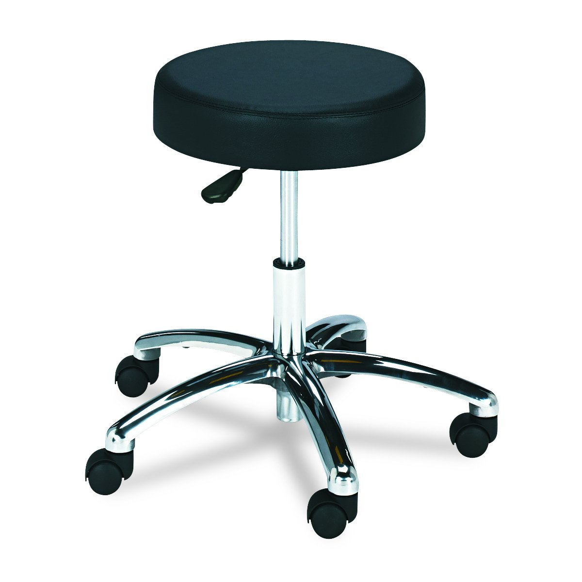 Safco Products Lab Stool, Pneumatic Lift 3431BL, Black, Chrome Base, Height-Adjustable Base, Easy-to-Clean Vinyl Stool