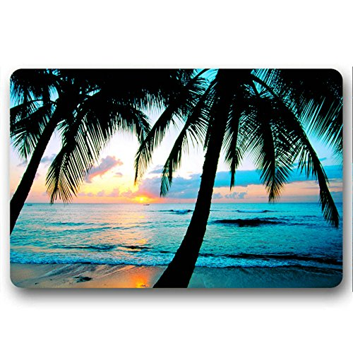 Beach Palm Trees Sunset Doormat,Non-Slip Neoprene Rubber Mat for Bath/Kitchen/Indoor/Office (18