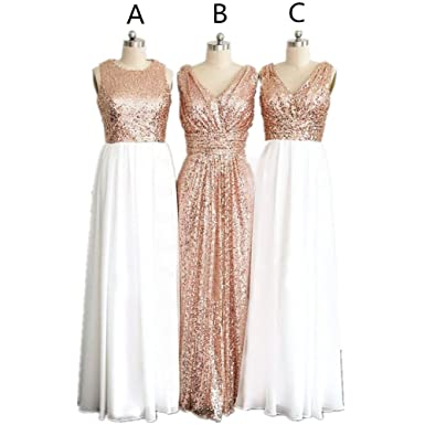 H.S.D Womens Scoop White Rose Gold Sequins Long Bridesmaid Party Prom Dress