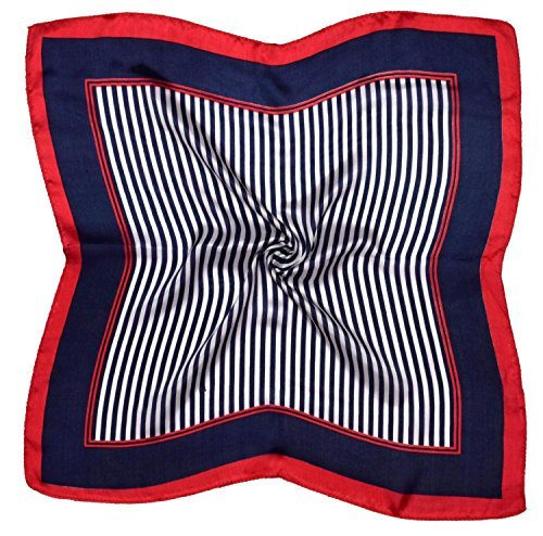 Red Navy Stripe Printed Small Square Fine Silk Scarf (Red Fine Stripe)