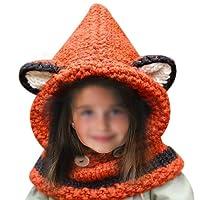 Daorier Bonnet Echarpe Cape Hiver Bonnet Écharpe En Laine Tricoté en Forme Renard pour Enfant Bébé des Filles Garçons 1 PCS