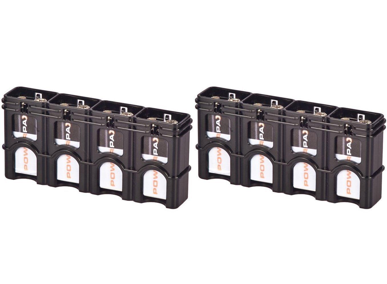 Black Each Holds 4 9V Batteries /… 2 x Powerpax Slim Line 9V Battery Caddy
