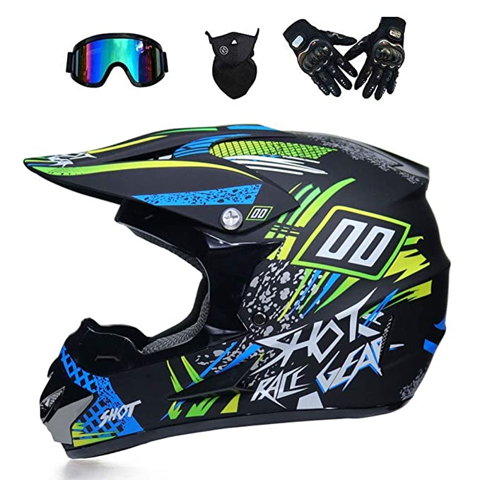 Amazon.com: WWQY Adult Off Road Helmet Motocross MX Motorcycle Helmet Mountain Bike Scooter ATV Helmet D.O.T Certified Multicolor with Goggles Gloves Mask ...
