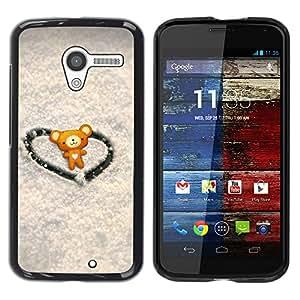 Paccase / SLIM PC / Aliminium Casa Carcasa Funda Case Cover - Love Cute Heart Bear - Motorola Moto X 1 1st GEN I XT1058 XT1053 XT1052 XT1056 XT1060 XT1055