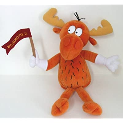 "ROCKY AND BULLWINKLE ""BULLWINKLE MOOSE "" with WOSSAMOTTAU Banner 17"" PLUSH: Toys & Games"