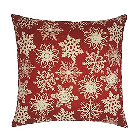 amazoncom howarmer 18x18 christmas decoration red throw pillow cover embroidered throw pillows for teen christmas snow home u0026 kitchen