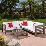 Ravello Outdoor Patio Furniture 4 Piece Wooden Sectional Sofa Set w/ Water Resistant Cushions (White)