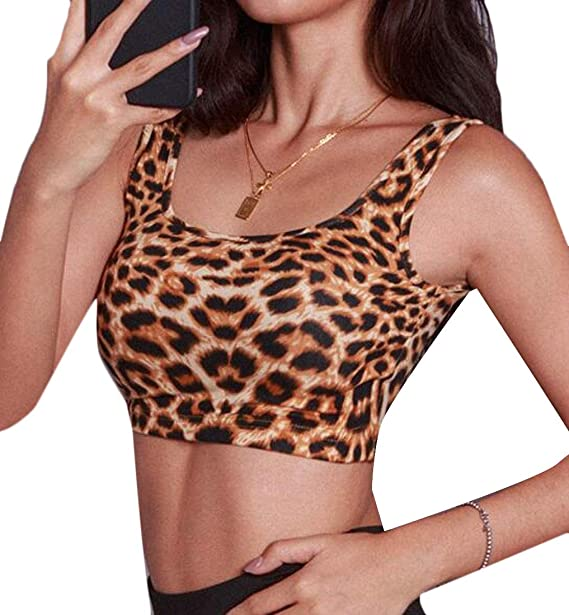 CRYYU Women Leopard Print Sleeveless Sexy Yoga Sports Crop Top Tank Cami T- Shirt 1