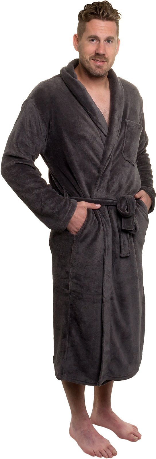 Ross Michaels Mens Plush Shawl Collar Kimono Bathrobe Robe (Grey, L/XL)