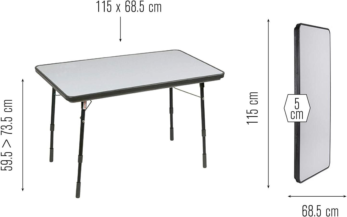 Lafuma Mesa de jardín plegable con altura ajustable, 115x68,5 ...