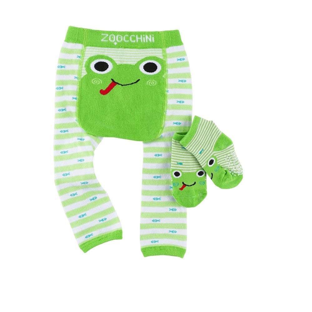 ZOOCCHINI Baby Non-Skid Comfort Crawler Leggings & Socks Set – Flippy The Frog, Boys and Girls Ages 12-18 Months ZO-12502-12-18M