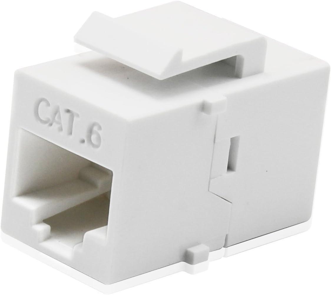 10 Pack CAT6 Inline Coupler Keystone RJ45 Female Snap-In Jack Insert White