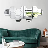 12PCS Mirror Wall Stickers, Hexagon Mirror Removable Art DIY Home Decorative Hexagonal Acrylic Mirror Sheet Plastic…