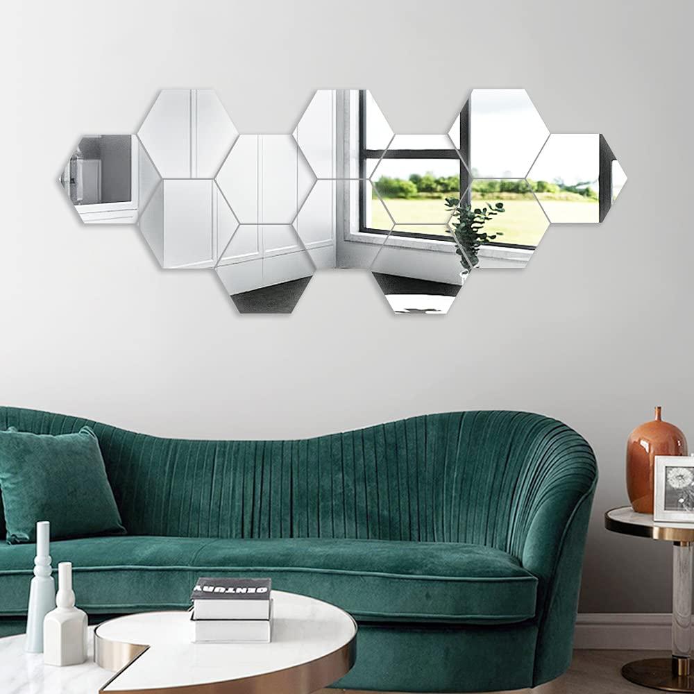 12 Pcs//Set 3D Mirror Geometric Hexagon Acrylic Wall Sticker Decor Art DIY Home#