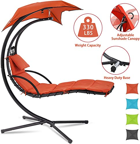 Patio Chair Hammock Chair Hanging Chairs Indoor Outdoor Swing Lounge Chair with Pillow, Canopy, Stand – Heavy Duty Arc Stand Floating Curved Chaise for Pool, Backyard, Deck – Orange