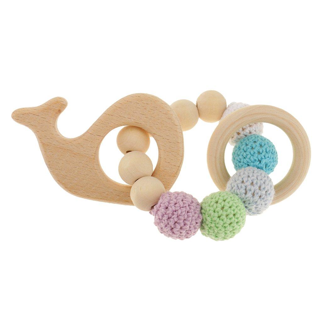 Baoblade Baby Teether Holz Spielzeug Hölzerne Beißring Ringe Perlen Rasseln Greiflinge Holz Lernspielzeug Geschenk - Mehrfarbig - Herz