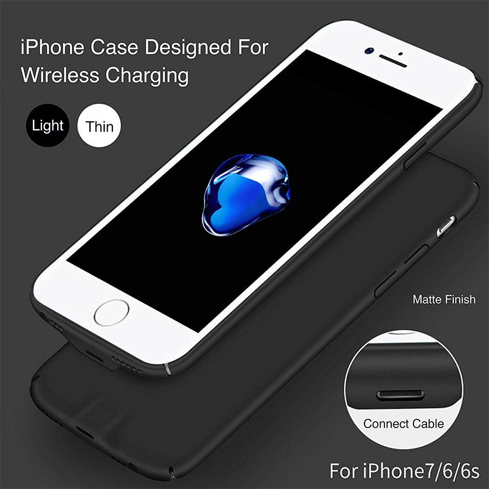 XLTOK QI Receptor Compatible con iPhone 7/6 /6s [Ultra-Delgado] Funda Receptor Cargador Inalámbrico - Puede Ser la Carga por El Cable sin La ...