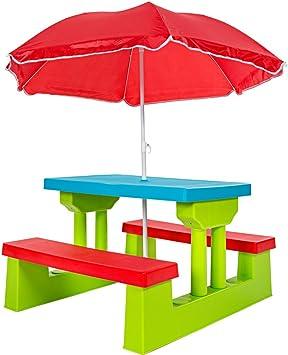 Mobili Da Giardino Per Bambini.Tectake Set Mobili Da Giardino Tavolo Per Bambini Con Panchine Incl Ombrellone Amazon It Giochi E Giocattoli
