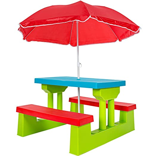 tectake kids table and bench set garden furniture for children with parasol 4 seater - Garden Furniture Kids