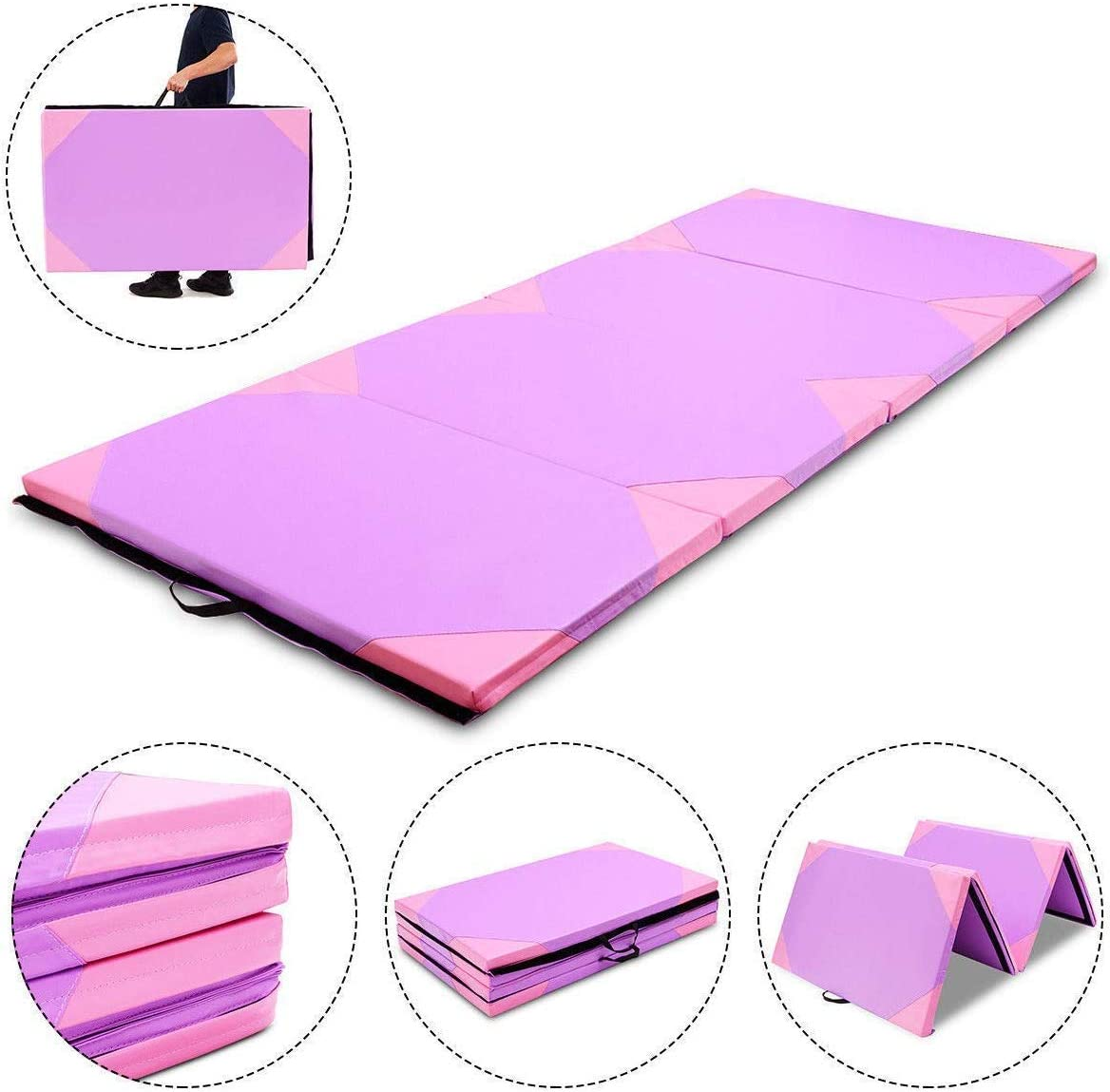 MAT EXPERT 4 x10 x2 Gymnastics Mat, Folding Exercise Aerobics Mat with Carrying Handles for Home Gym, Extra Thick High Density Anti-Tear Gymnastics Exercise Mat