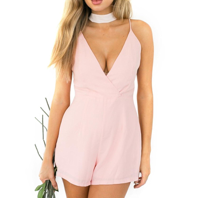 Yantu Damen Sexy Jumpsuit Sommer Overall Chiffon kurz Elegant Kleider