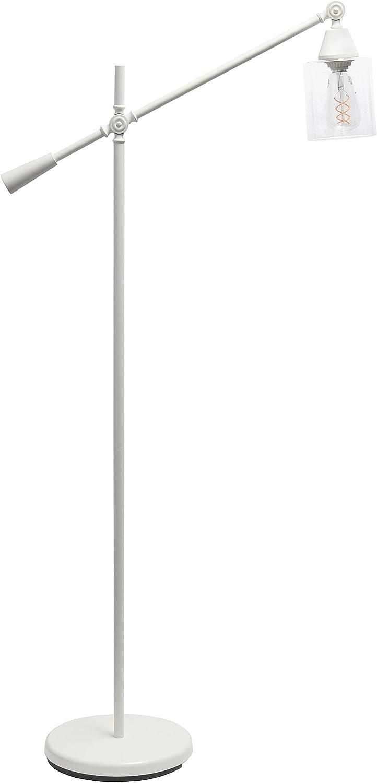 Elegant Desings LF1030-WHT Pivot Arm Floor Lamp Bombing free shipping Glass Selling rankings Whi Shade
