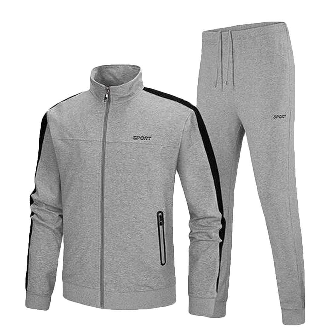 X-Future Men 2 Piece Running Athletic Tracksuit Set Sportwear Jacket Sportwear Sweat Suit
