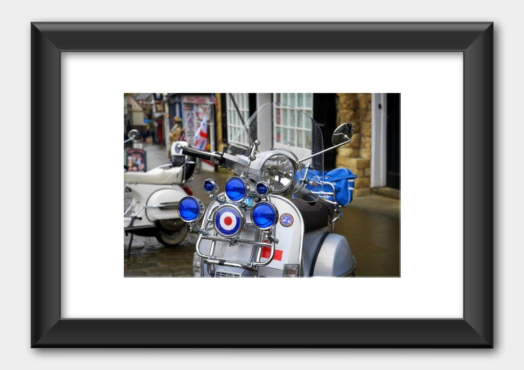 The Mods - Moped Vespa Scooter Detail Poster Black Frame 29.7x42cm (A3) White by Music Poster