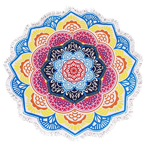 Same Pattern Different Quality 2018 New Developed Material Thick Round Beach Towel Round Beach Blanket 100% Microfiber Terry Quality with Tassels 62 inches Lotus Flower Sharp Mandala Style