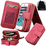 iPhone SE Case, iPhone 5s Case, DRUnKQUEEn Premium Zipper Wallet Leather Detachable Magnetic Case Purse Clutch Removable Case with Black Flip Credit Card Holder Cover for iPhoneSE iPhone5s
