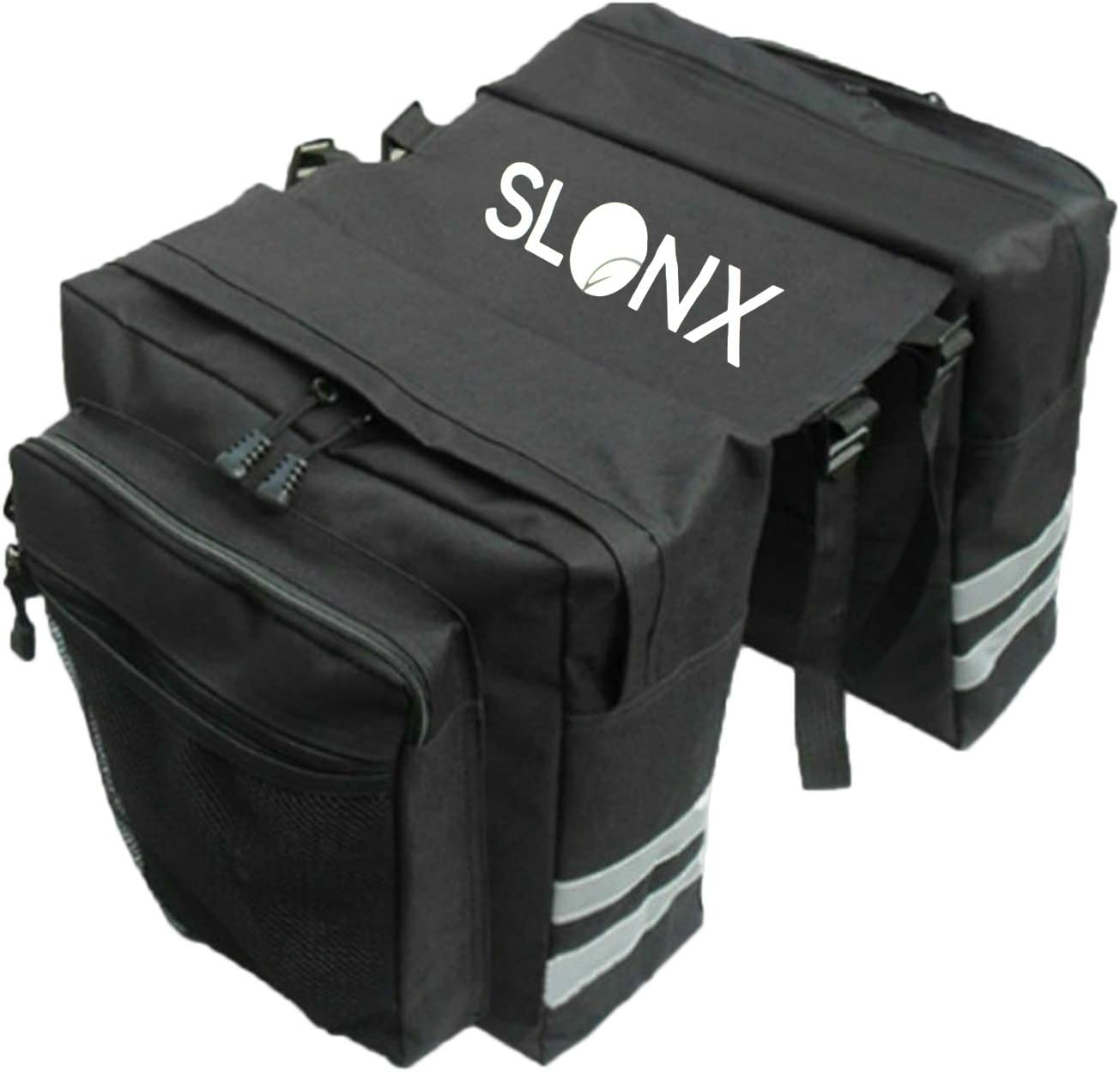 SlonX Bike Bags- Double Sided Panniers for Bicycles Rear Rack - Water and Tear Resistant Saddle Bag with Multiple Pockets and Adjustable Straps- 2 Reflective Lights Included for Road Safety