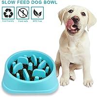 Decyam Comedero Perro Gato, Antideslizante Alimentacion Plato alimentador Tazon Comedero para Mascotas Bebedero Cuenco Bol Recipiente … (Blue 1)