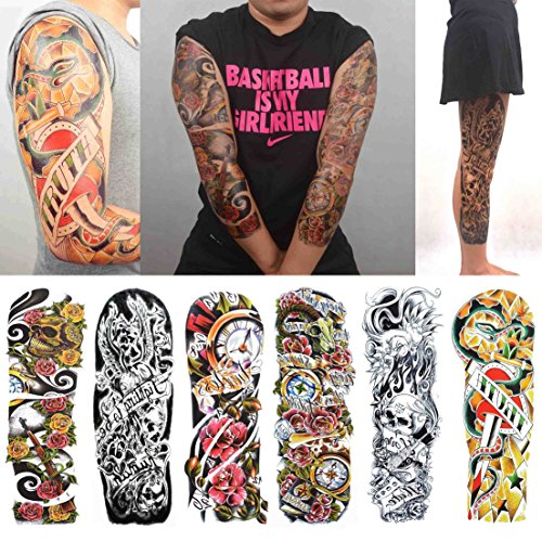 COKOHAPPY 6 Sheets Large Extra Full Arm Large Temporary Tattoo and Half Arm Sleeve Gun Rose for Men Women ()
