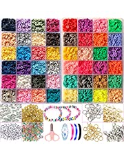 9600pcs Clay Beads for Jewelry Making DIY Kit Flat Round Polymer Clay Spacer Beads Heishi Beads for Bracelets Necklace Earring Craft Decoration with Pendant Jump Rings Elastic Cord(6mm 48 Color Mixed)