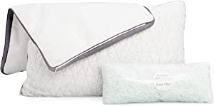 Coop Home Goods - Bundle - 2 Eden Shredded Memory Foam Pillows and 2 Lulltra Zippered Pillow Protector Covers - Queen Size