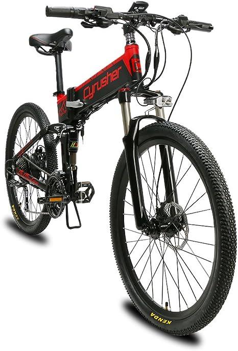 Extrbici Bicicleta eléctrica Plegable montaña Adultos Hombre Mujer Todo Terreno 500W 48V XF770 (Negro Rojo): Amazon.es: Deportes y aire libre