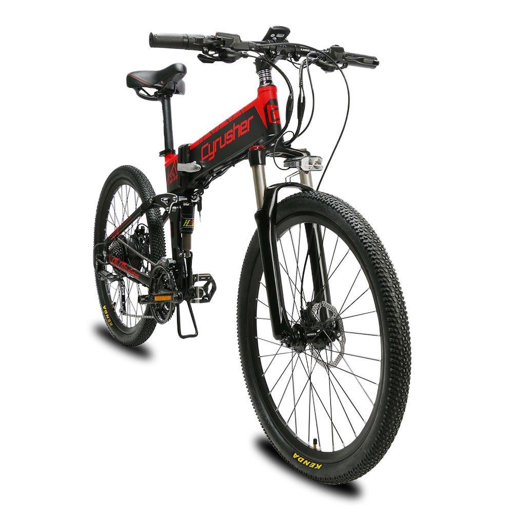 Extrbici XF770 自転車 折りたたみ 自転車 26インチ リチウム×バッテリー シマノ27段変速 フルサスペンション ディスクブレーキ 特製タイヤ 通学通勤用 防犯登録可能  黑红 B07K1P9NRY