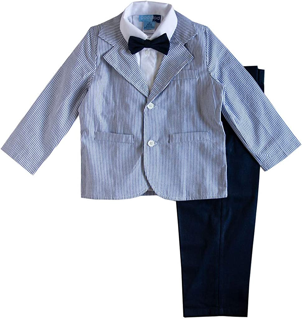 Good Lad Toddler Thru 4/7 Boys Blue Seersucker Suit Set