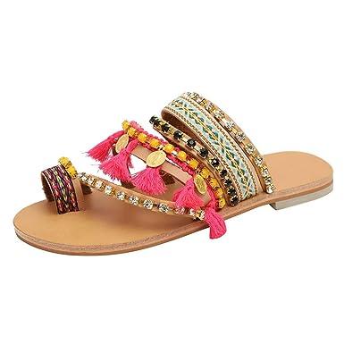 663bac3ad Womens Summer Flat Sandals Bohemia Beach Rhinestone Clip Toe Flip Flops  Ethnic Style Flat Bottom Flatform Sandals at Amazon Women s Clothing store