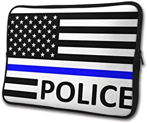 SWEET-YZ Laptop Sleeve Case Blue Thin Line Police Flag Notebook Computer Cover Bag Compatible 13-15 Inch Laptop