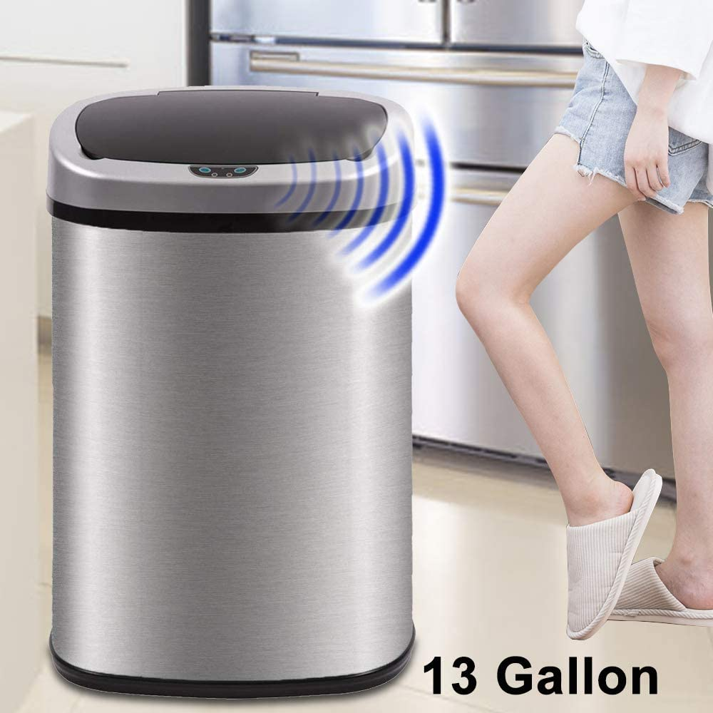 Dkeli Kitchen Trash Can for Bathroom Bedroom Home Office Automatic Touch Free High-Capacity Garbage Can with Lid Brushed Stainless Steel Waste Bin 13 Gallon / 50L